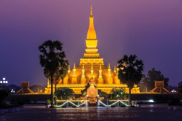 Pha that luang, a gold buddhist stupa landmark of vientiane, laos pdr.