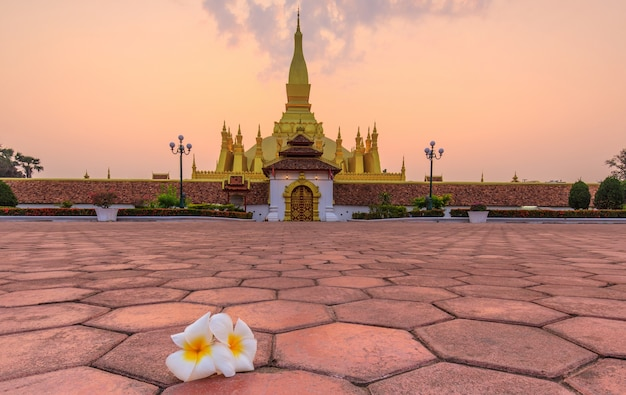 Pha that luang, a gold buddhist stupa in the morning , landmark of vientiane, laos pdr.