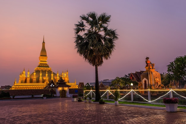 Pha that luang, a gold buddhist stupa in the morning