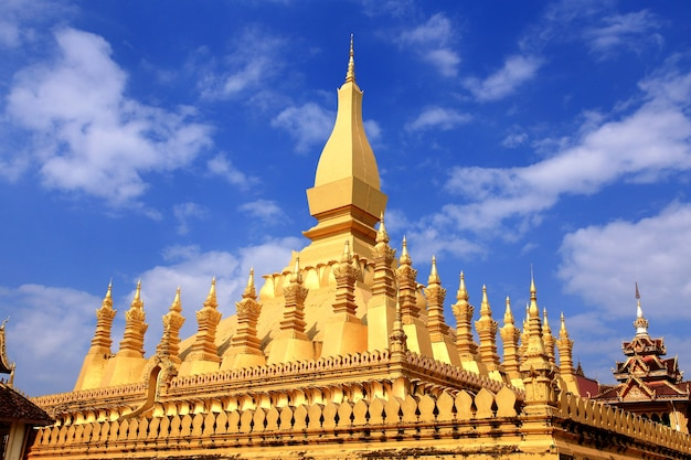 Pha that luang is a gold covered large buddhist stupa in the center of vientiane, laos.