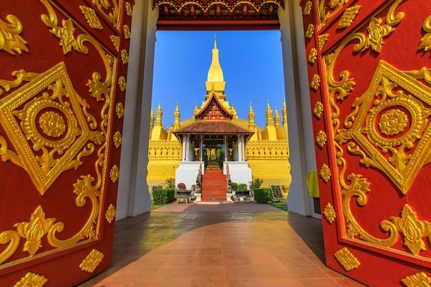 Pha that luang金仏教仏塔、ビエンチャンのランドマーク、ラオス人民共和国。