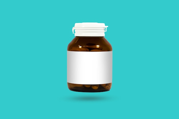 Pharmaceutical packaging bottles isolated background. studio shot clipping mask.