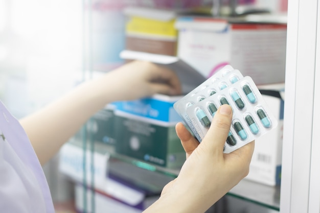 Pharmacist treatment medicine for sick patient