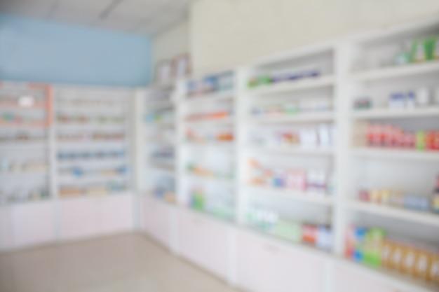 Интерьер аптеки с размытым фоном
