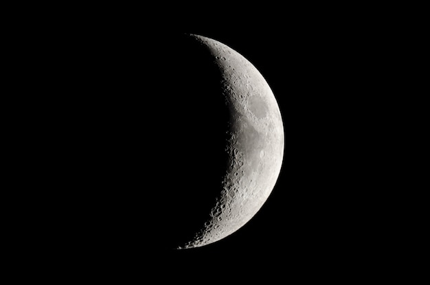 Phases of the moon. waxing crescent