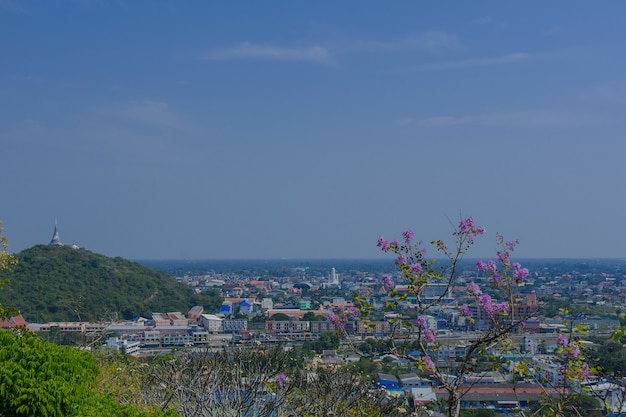 Phetchaburi city from a high angle in thailand.