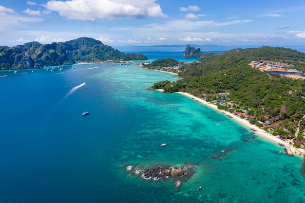 Phi phi island and resort tourist boat aerial view