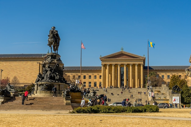 Philadelphia museum of art and george washington monument in sunny day, pennsylvania