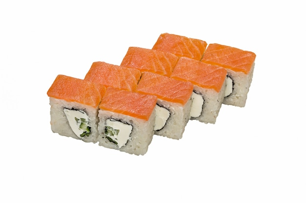 Philadelphia (roll), maki sushi on  white background.