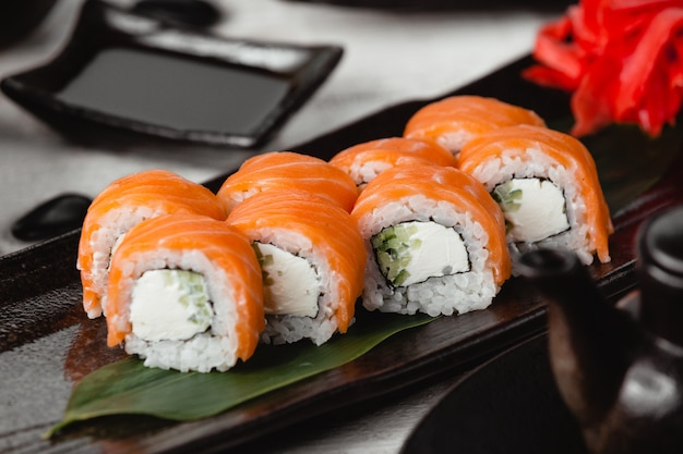 Philadelphia rolls with salmon and cream cheese.