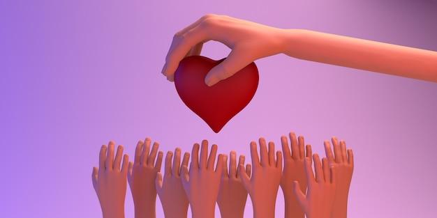 慈善のバナー。多くの人に愛を与える手。チャリティー。心臓。 3dイラスト。
