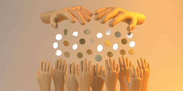 자선 배너입니다. 돈을 기부하는 손. 자선 단체. 3d 그림입니다.