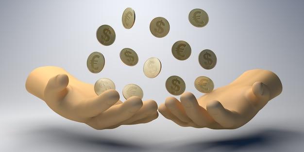 자선 배너입니다. 동전을 들고 손입니다. 자선 단체. 기부. 3d 그림입니다.