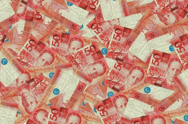 Philippine piso bills lies in big pile rich life conceptual background big amount of money