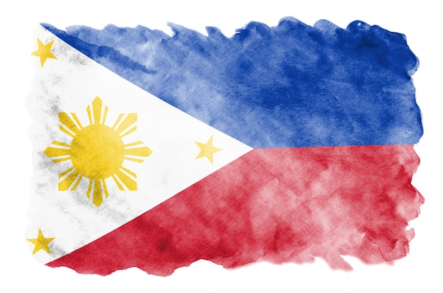 Philippines flag  is depicted in liquid watercolor style isolated on white