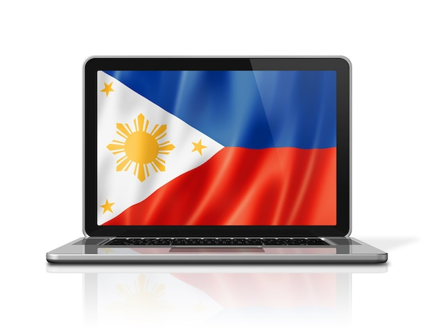 Philippines flag on laptop screen isolated on white. 3d illustration render.