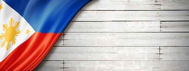 Philippines flag on old white background. horizontal panoramic .