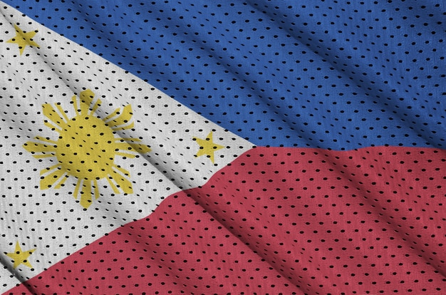Philippines flag printed on a polyester nylon sportswear mesh