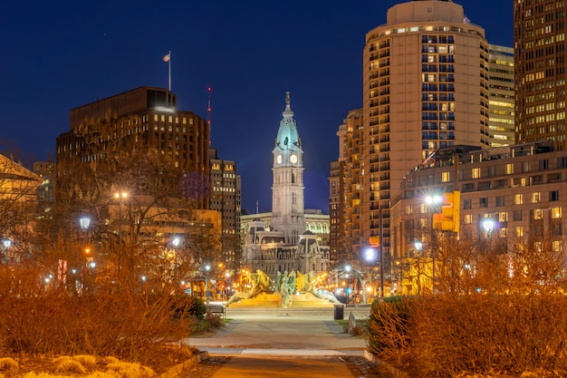 Philladelphia city hall night