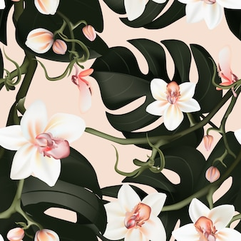 Philodendron and orchid seamless background
