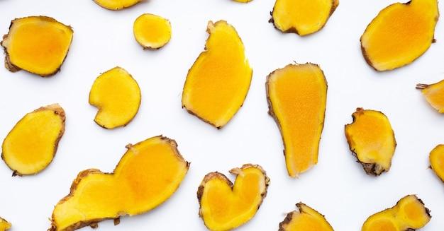 Phlai slices, cassumumr ginger or zingiber montanum on white background.
