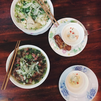 Pho bo, pho ga and spring roll
