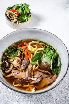 Pho bo vietnamese soup with beef