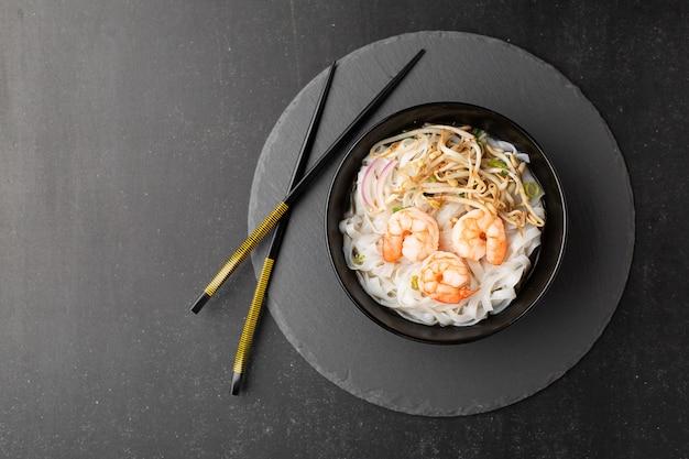 Pho tom noodle broth asian soup shrimp