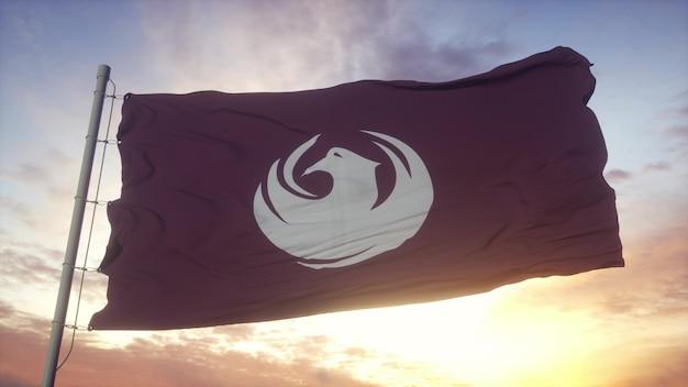 애리조나 주 피닉스 시 깃발이 바람, 하늘, 태양을 배경으로 흔들고 있습니다. 3d 렌더링