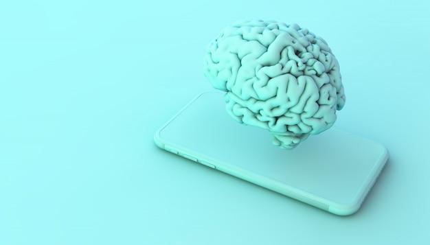 Телефон и мозг на синем 3d-рендеринг концепции