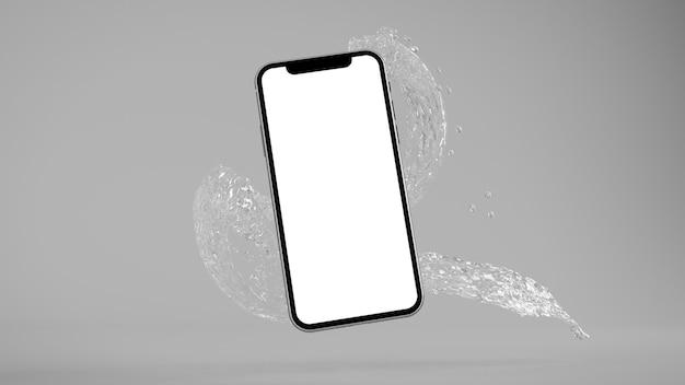 電話と水のしぶきのモックアップ3dレンダリング