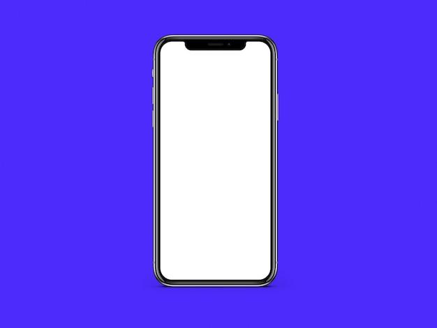 Пустой белый экран телефона на синем цвете