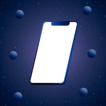 빈 화면 및 공 3d 렌더링 전화 블루
