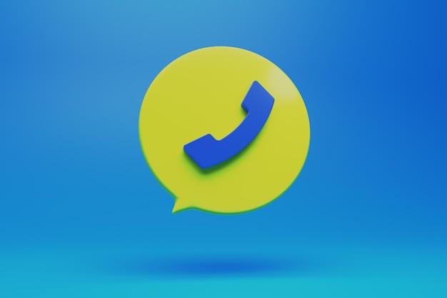 3d 현대적인 스타일 그림에서 전화 아이콘 버튼 기호