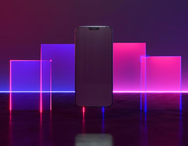Дизайн телефона с ярким неоновым светом