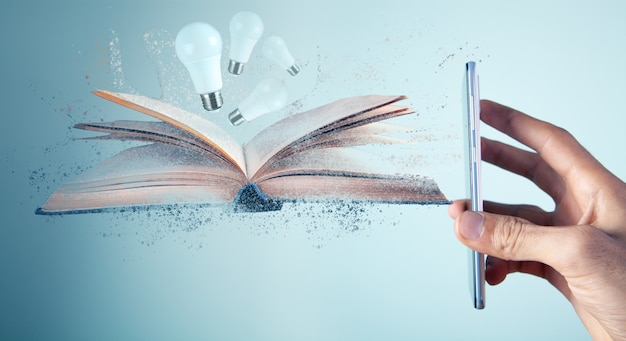 Phone displays book and light bulbs that disappear