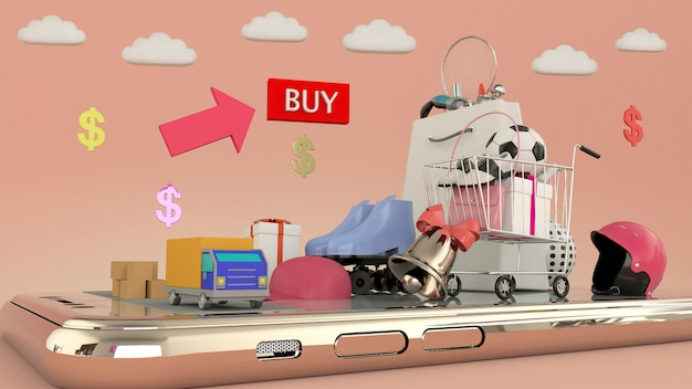 Phone to enter content surrounded by shopping bags, shopping carts on wall-3d rendering. - 3d illustration