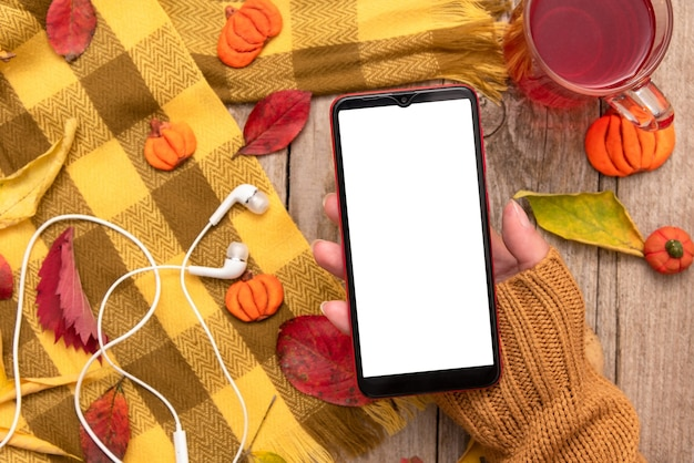 Phone in the hand of a girl against the background of autumn fallen leaves and a scarf.