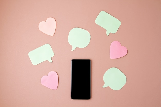Phone and hearts and speech bubbles