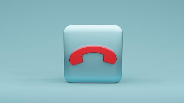사각형 모양, 3d 렌더링에 전화 아이콘