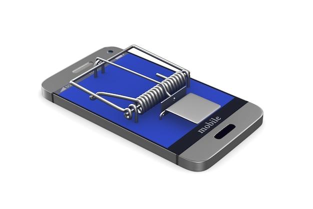 Телефон в мышеловке на белом фоне. изолированные 3d иллюстрации
