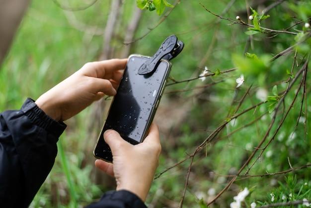 Телефонные линзы для макросъемки. женщина держит в руках мобильный телефон с макро-насадкой и фотографирует растения.