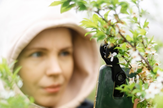 Phone lenses for macro photography. a woman holds a mobile phone with a macro attachment in her hands and takes pictures of plants.
