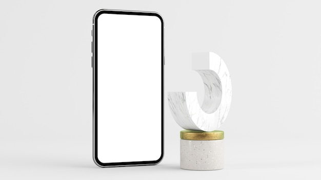 Phone mock up with abstract shape 3d rendering