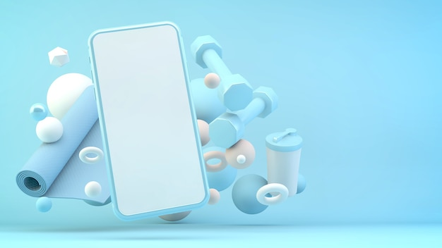 Макет телефона с фитнес-оборудованием, окружающим 3d-рендеринг
