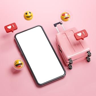 Phone mockup pink suitcase emoji online travel holiday concept 3d rendering