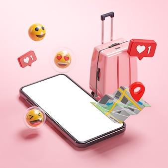 Phone mockup pink suitcase map emoji online travel holiday concept 3d rendering