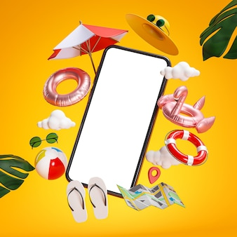 Phone mockup and summer holiday accessories 3d rendering