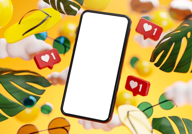 Phone mockup summer yellow background concept 3d rendering