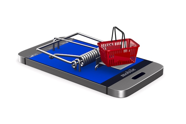 Phone in mousetrap and shopping basket on white. isolated 3d illustration